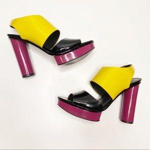 POUR LA VICTOIRE Color Block Patent Leather Heels